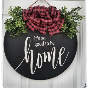 "Farmhouse Inspired 17"" Wooden Door Hanging Decor"